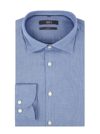 Jake*s Men Slim Fit Business-Hemd aus Oxford Blau - 1