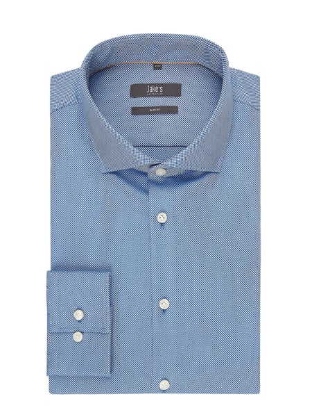 Jake*s Slim Fit Business-Hemd aus Panama Blau - 1