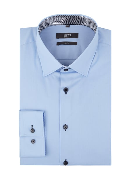 Jake*s Men Slim Fit Business-Hemd aus Popeline Blau - 1