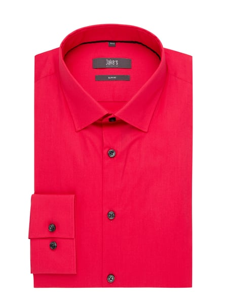 Jake*s Slim Fit Business-Hemd aus Popeline Rosa - 1