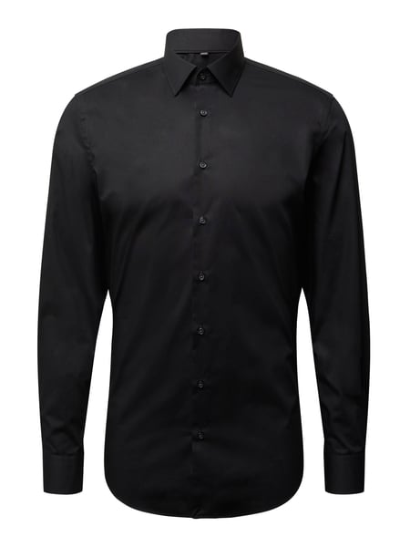 Jake*s Slim Fit Business-Hemd aus Popeline Schwarz - 1