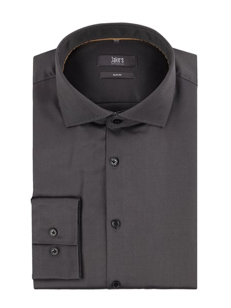 Jake*s Slim Fit Business-Hemd aus Twill Grau / Schwarz - 1