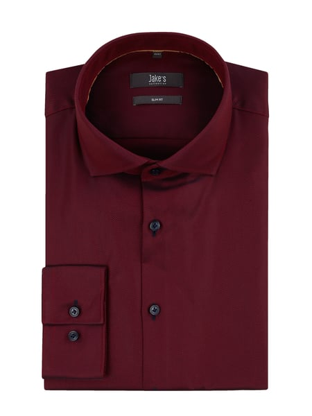 Jake*s Slim Fit Business-Hemd aus Twill Rot - 1