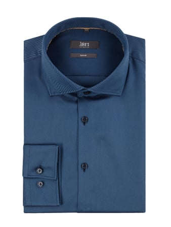 Jake*s Slim Fit Business-Hemd aus Twill Blau / Türkis - 1