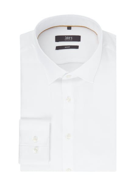 Jake*s Slim Fit Business-Hemd aus Twill Weiß - 1
