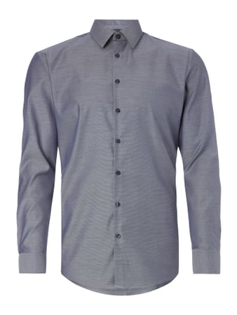 Slim Fit Business-Hemd mit feiner Webstruktur Blau / Türkis - 1