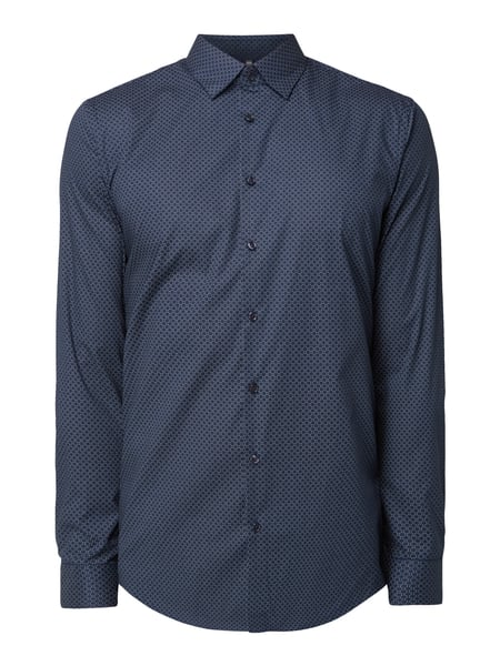 Jake*s Slim Fit Business-Hemd mit Gitterkaro Marineblau