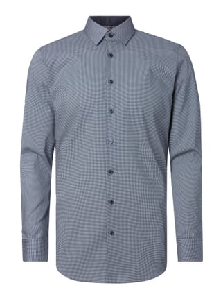 Slim Fit Business-Hemd mit grafischem Muster Blau / Türkis - 1