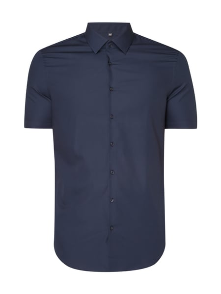 Jake*s Slim Fit Business-Hemd mit kurzem Arm Marineblau