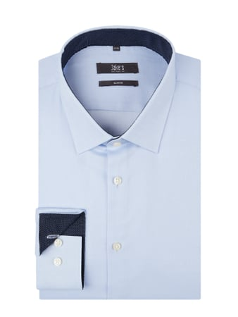 Jake*s Slim Fit Business-Hemd mit New Kent Kragen Blau / Türkis - 1