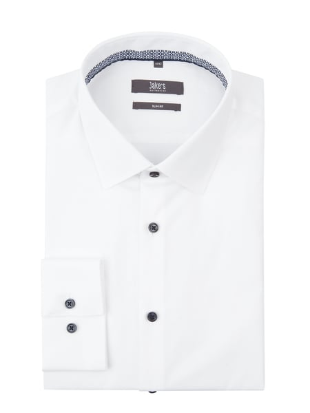 Jake*s Slim Fit Business-Hemd mit New-Kent-Kragen Weiß - 1