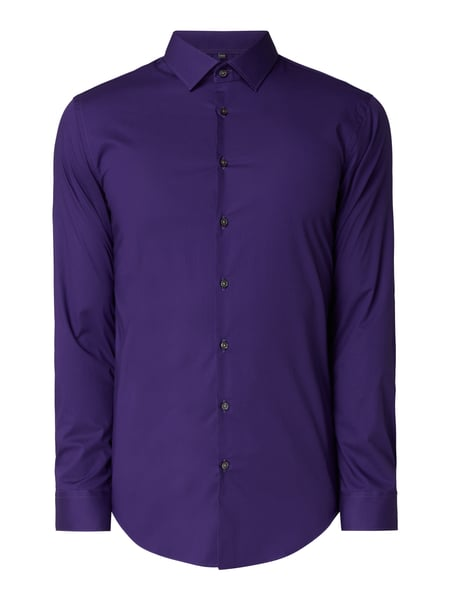 Jake*s Slim Fit Business-Hemd mit Sportmanschetten Aubergine