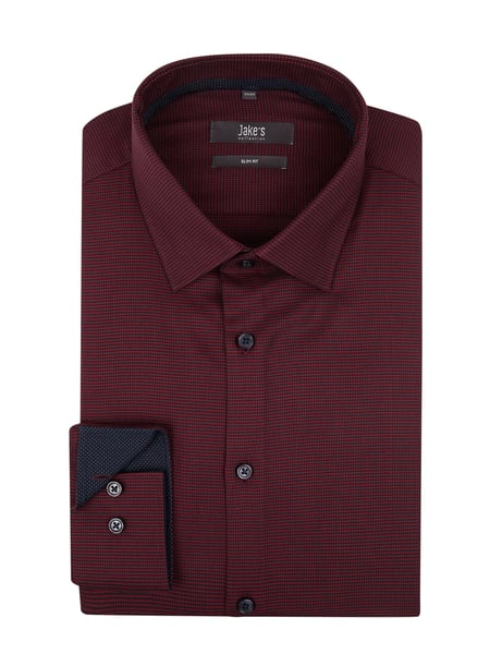 Jake*s Men Slim Fit Business-Hemd mit Stretch-Anteil Rot - 1