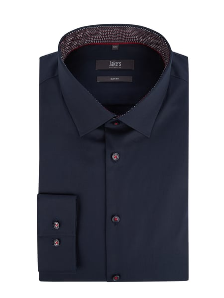 Jake*s Slim Fit Business-Hemd mit Stretch-Anteil Blau / Türkis - 1