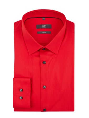 Jake*s Slim Fit Business-Hemd mit Stretch-Anteil Rot - 1