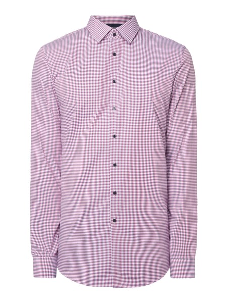 Jake*s Slim Fit Business-Hemd mit Vichy Karo Pink