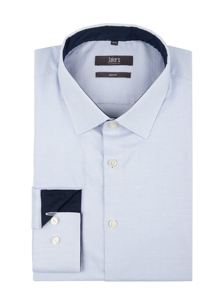 Jake*s Slim Fit Business-Hemd mit Webmuster Blau - 1