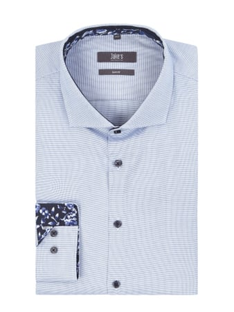 Jake*s Slim Fit Business-Hemd mit Webmuster Blau / Türkis - 1