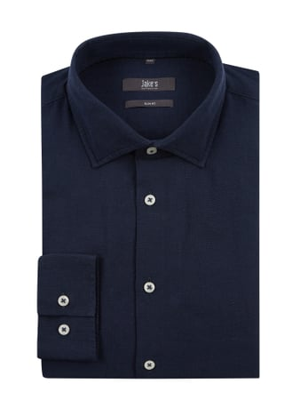 Jake*s Slim Fit Leinenhemd Blau - 1
