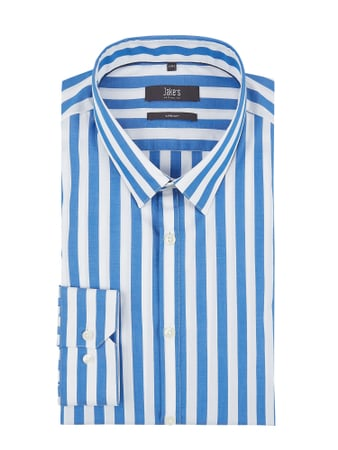 Jake*s Super Slim Fit Business-Hemd aus Popeline Blau - 1