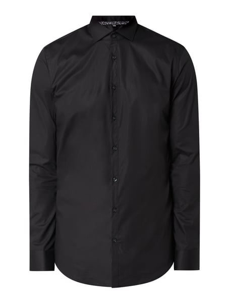 Jake*s Super Slim Fit Business-Hemd aus Popeline Schwarz - 1