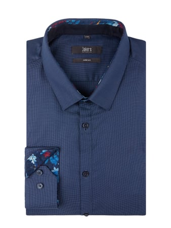 Jake*s Super Slim Fit Business-Hemd mit Kentkragen Blau / Türkis - 1