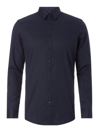 Super Slim Fit Business-Hemd mit Punktemuster Blau / Türkis - 1