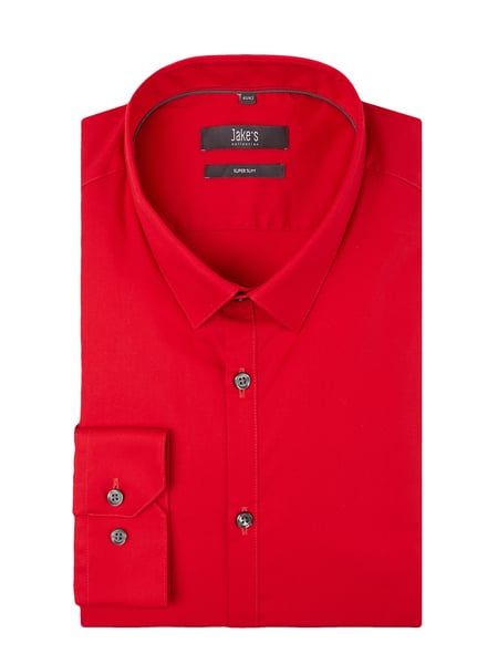 Jake*s Super Slim Fit Business-Hemd mit Stretch-Anteil Rot - 1