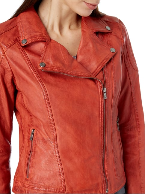 Jilani Lederjacke im Biker-Look Orange - 1