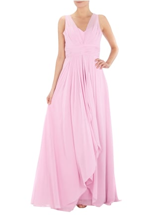 Jora Collection Abendkleid mit locker fallendem Besatz in Rosé - 1