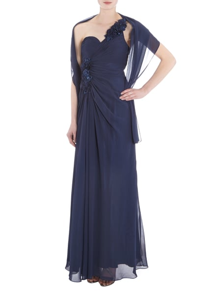 Jora collection one shoulder abendkleid mit drapierung marineblau