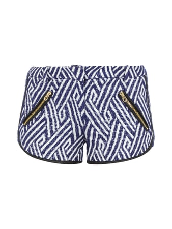 Juicy Couture Shorts mit Paspeln in Leder-Optik Blau / Türkis - 1