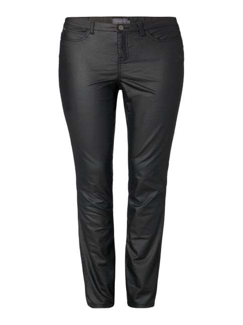 PLUS SIZE - Coated Skinny Fit Jeans Grau / Schwarz - 1