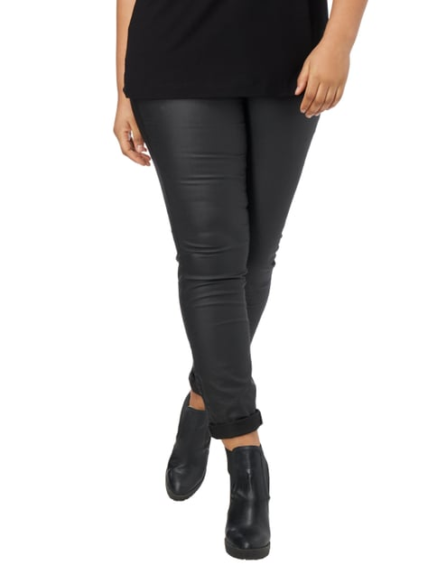 Junarose PLUS SIZE - Coated Skinny Fit Jeans Schwarz - 1