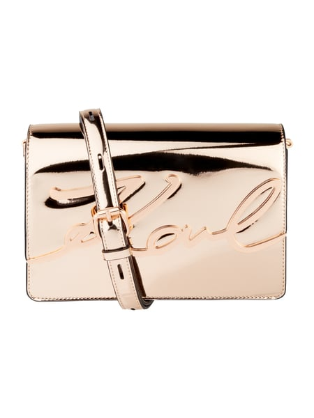 Karl Crossbody Bag aus echtem Leder Metallic Rosa