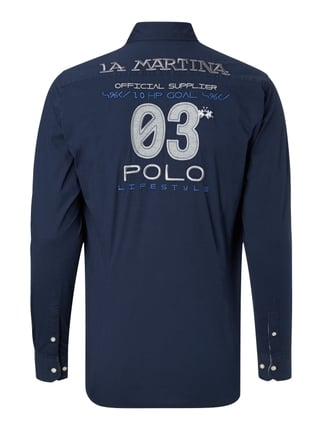 La Martina Regular Fit Freizeithemd mit Logo-Stickereien Marineblau - 1