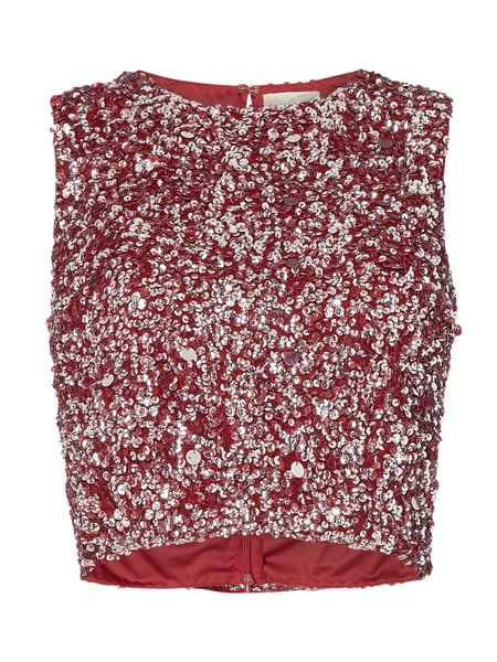 LACE & BEADS Crop Top aus Mesh mit Pailletten-Applikationen Rot - 1