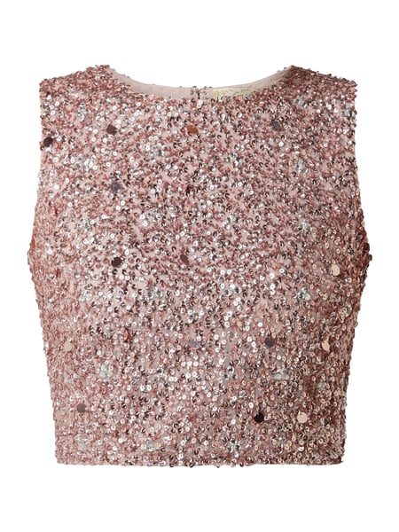 LACE & BEADS Crop Top aus Mesh mit Pailletten-Applikationen Silber - 1