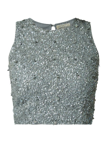 LACE & BEADS Crop-Top mit Pailletten Grau - 1