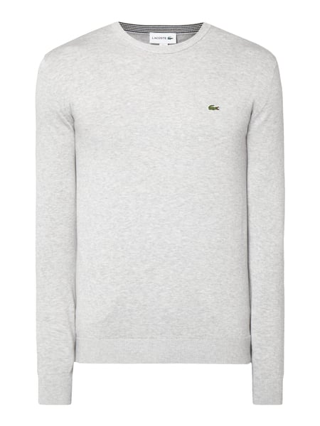 Lacoste Pullover mit Logo-Badge Silber meliert