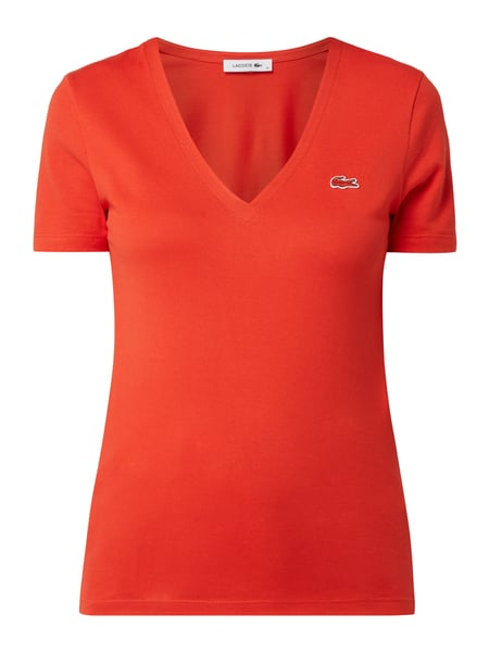 Lacoste T-Shirt mit Logo-Applikation Rot - 1