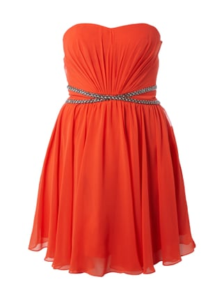 Cocktailkleid mit gekreuzter Taillenpasse Orange - 1