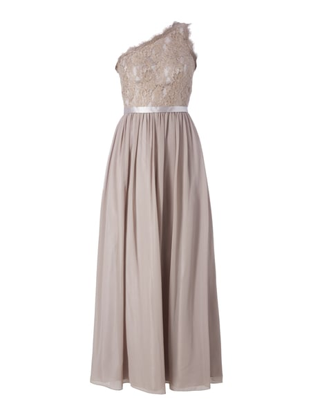 Laona One-Shoulder-Abendkleid mit floralen Stickereien Taupe