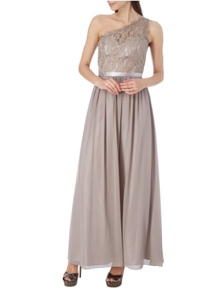 Laona One-Shoulder-Abendkleid mit floralen Stickereien in Braun - 1