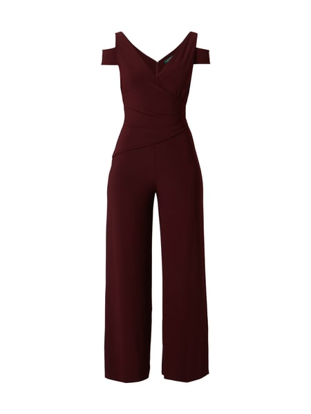 Lauren Ralph Lauren Cold Shoulder Jumpsuit in Wickeloptik Bordeaux Rot