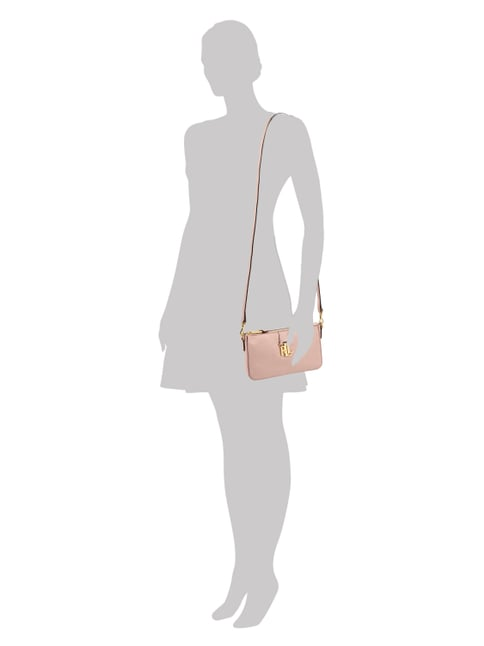 Lauren Ralph Lauren Crossbody Bag aus echtem Leder in Rosé - 1