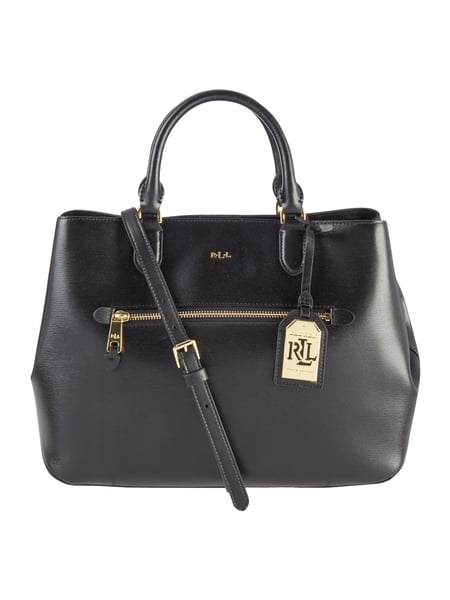 lauren ralph lauren handtasche aus leder mit saffiano struktur in grau schwarz online kaufen. Black Bedroom Furniture Sets. Home Design Ideas