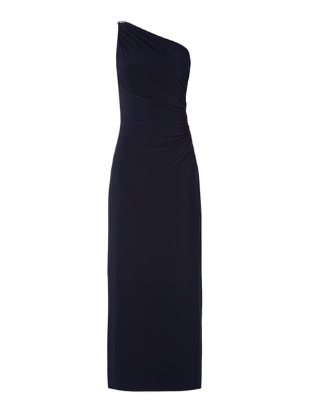 One-Shoulder-Abendkleid mit Schmuck-Applikation Blau / Türkis - 1