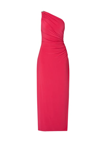 Lauren Ralph Lauren One-Shoulder-Abendkleid mit Schmuck-Applikation Pink
