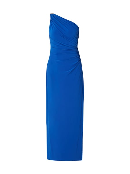 Lauren Ralph Lauren One-Shoulder-Abendkleid mit Schmuck-Applikation Royalblau
